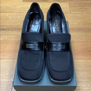 Gucci black heal loafer